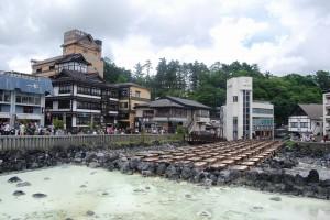 草津温泉の象徴、湯畑。
